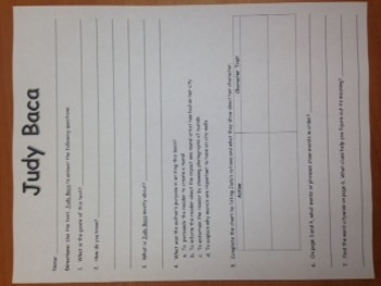 3rd Gr. Wonders Unit 1 Week 3 On Level Reader Response Worksheet- Judy Baca