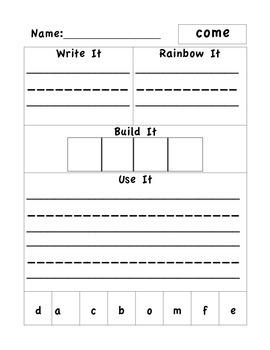 Wonders Unit 1 Week 3 Word Work 1st Grade