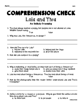Wonders Unit 1 Week 4 Lola and Tiva Comprehension Check