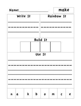 Wonders Unit 1 Week 4 Word Work 1st Grade
