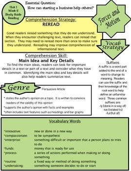 Wonders Unit 1 Week 5 Study guide