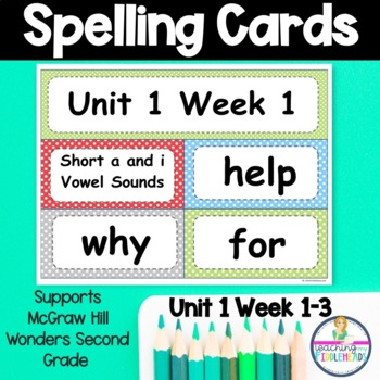 Wonders Unit 1 Weeks 1-5 Spelling Words Second Grade