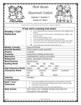 Wonders Unit 1 week 3 Homework Packet