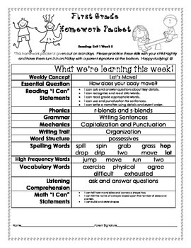 Wonders Unit 1 week 5 Homework Packet
