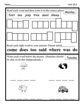 Wonders Unit 10 Week 2 Reading/Math Homework (All Kinds of Families)