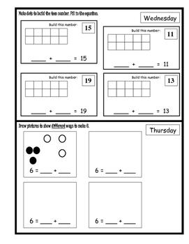 Wonders Unit 10 Week 3 Reading/Math Homework (Panda Kindergarten)