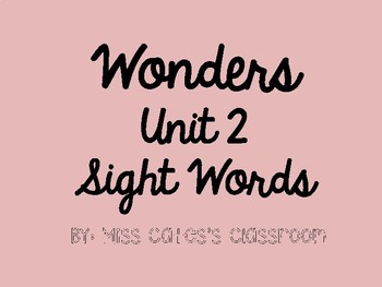 Wonders Unit 2 Sight Words Bundle