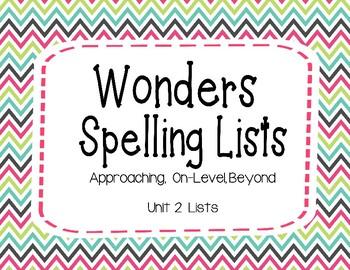 Wonders Unit 2 Spelling Lists (2nd Grade)
