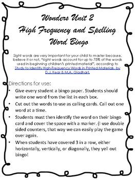Wonders Unit 2 Spelling and Sight Word Bingo