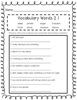 Wonders Unit 2 Vocabulary Tests