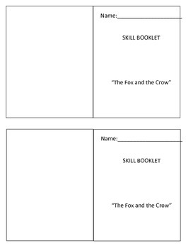 Wonders Unit 2 Week 1 Fox and the Crow Skill Booklet
