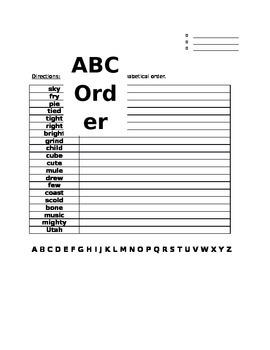Wonders Unit 2 Week 1 Spelling ABC Order