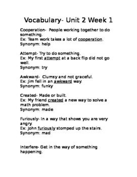 Wonders Unit 2 Week 1 vocab Gr.3 list with definitions and example sentences