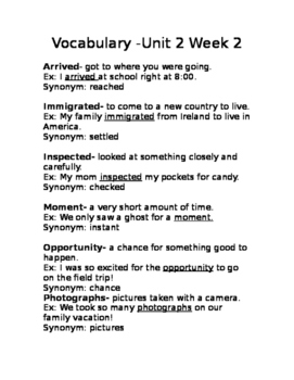 Wonders Unit 2 Week 2 vocab Gr.3 list with definitions and example sentences