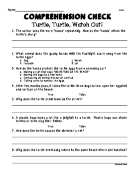 Wonders Unit 2 Week 3 Turtle, Turtle Watch Out! Comprehension Check