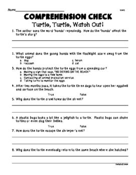 Wonders Unit 2 Week 3 Turtle, Turtle Watch Out! Comprehens