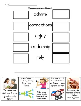 Wonders Unit 2, Week 4 Vocabulary Set