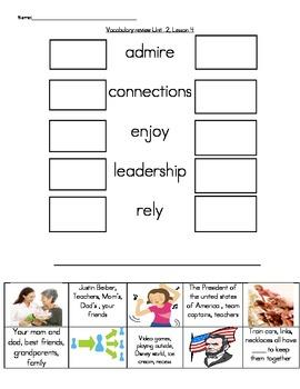 Wonders Unit 2, Week 4 Vocabulary Set