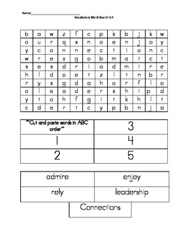 Wonders Unit 2 Week 4 Word Search and ABC order Vocab