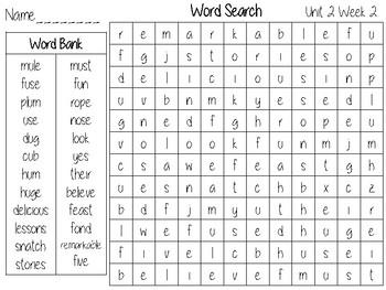 Wonders Unit 2 Word search Grade 2