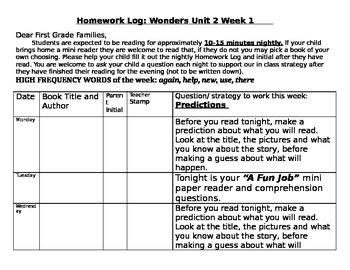 Wonders Unit 2 reading logs