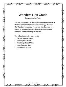 Wonders Unit 3 Comprehension Tests- First Grade