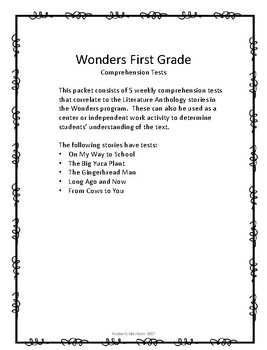 Wonders Unit 3 Comprehension Tests- First Grade