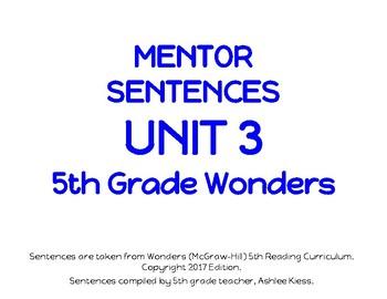 Wonders Unit 3 Mentor Sentences Grade 5