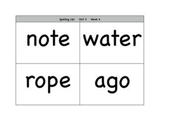 Wonders Unit 3 Spelling Lists