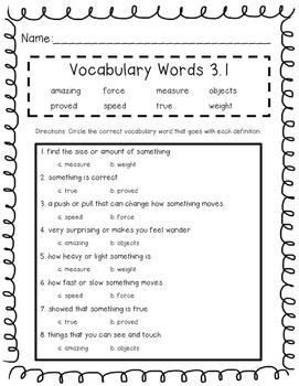 Wonders Unit 3 Vocabulary Tests