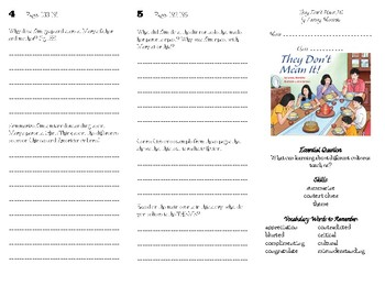 """Wonders Unit 3 Week 1 Brochure """"They Don't Mean It"""" (Grade 5)"""