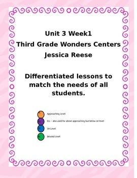 Wonders Unit 3 Week 1 Differentiated Centers