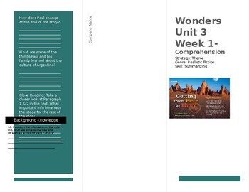Wonders Unit 3 Week 1 Foldable for Source 1