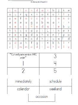 Wonders Unit 3 , Week 1 Vocabulary Activity Set