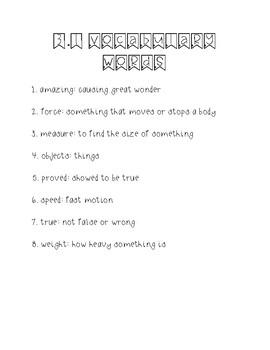 Wonders Unit 3 Week 1 Weekly Vocabulary Page
