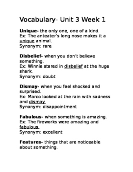 Wonders Unit 3 Week 1 vocab Gr.3 list with definitions and example sentences
