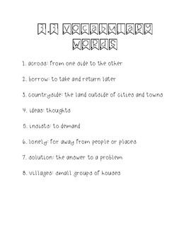 Wonders Unit 3 Week 3 Weekly Vocabulary Page