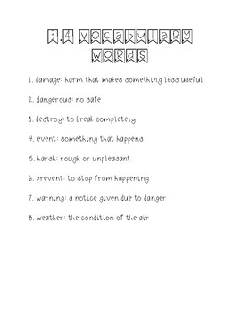 Wonders Unit 3 Week 4 Weekly Vocabulary Page