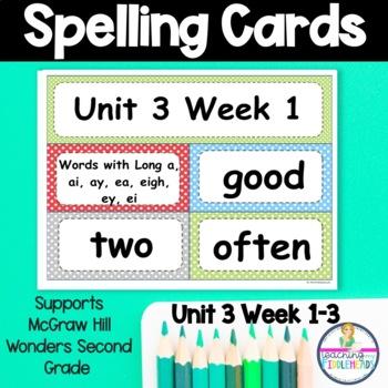 Wonders Unit 3 Weeks 1-5 Spelling Words Second Grade