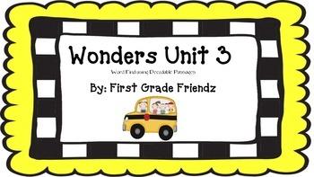 Wonders Unit 3 Word Find Using Decodable Passages