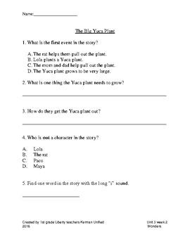Wonders Unit 3 selection tests