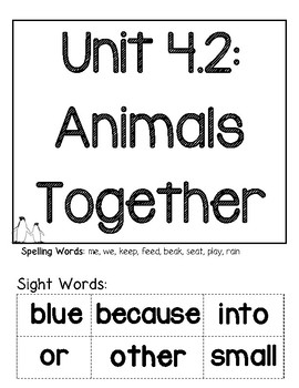 Wonders G1 Unit 4.2: Animals Together Reproducibles