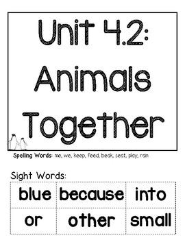 Wonders Unit 4.2: Animals Together Graphic Organizers & Pr