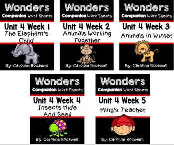 Wonders Unit 4 BUNDLE Weeks 1-5 Worksheets/Centers. First Grade
