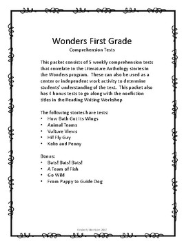 Wonders Unit 4 Comprehension Tests- First Grade