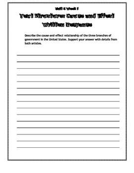 Wonders Unit 4, Grade 4 Graphic Organizers & Written Responses
