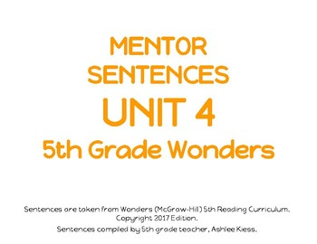 Wonders Unit 4 Mentor Sentences Grade 5