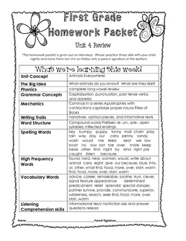 Wonders Unit 4 Review Homework Packet