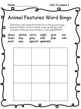 Wonders Unit 4 Spelling and Sight Word Bingo