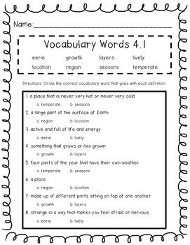 Wonders Unit 4 Vocabulary Tests